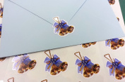 40 Gold bells and blue bows envelope seal stickers