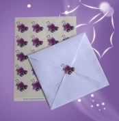40 Christmas Silver bells and lilac bows envelope seal stickers