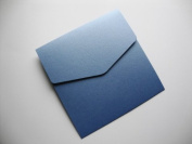 5 x Large Square 150x150mm Pocketfold Wedding Invites Pearlised Cornflower Blue by Cranberry Card Company