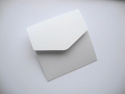 5 x Small Square 122x125mm White with hint of silver Pearlescent (Ice Silver) Book Fold Invitation Wallets by Cranberry Card Company