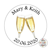 50 x 3cm PERSONALISED Wedding/Birthday Stickers Favours/Save The Date/Invites Champagne Glasses