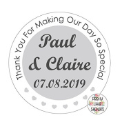 50 x 4cm PERSONALISED Wedding Stickers Favours/Save The Date/Invites 2 MESSAGE Hearts