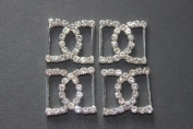 5 Diamante Butterfly Double D DC Buckles / Ribbon Sliders perfect for wedding invites - vertical bar