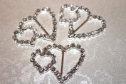 5 Diamante Double Heart Buckles / Ribbon Sliders perfect for wedding invites
