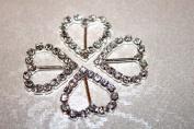 5 Diamante Heart Buckles / Ribbon Sliders perfect for wedding invites - vertical bar