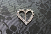 5 Diamante curved Heart Buckles / Ribbon Sliders perfect for wedding invites - vertical bar