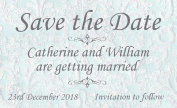 50 Personalised Save the Date Magnets. Blue Lace Design Wedding Magnets. Professional E-draught and Envelopes are Included.