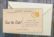 50 Personalised Save the Date Magnets. Mini Postcard Wedding Magnets. Professional E-draught and Envelopes are Included.
