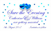 40 Personalised Save the Date Magnets. Blue Hearts Wedding Magnets. Professional E-draught and Envelopes are Included.