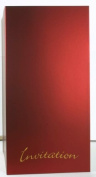 Wedding Invitation-Invites Perigrina Ruby Red Freehand 'Invitation' Gold Embossed 336 gsm 10 per pack
