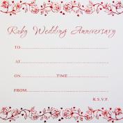 Ruby Wedding Anniversary Invitations - Pack of 10