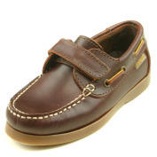 Step2wo Jackson Boys Flat Hook and loop Strap Boat Shoe in Brown Leather