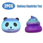 Cebbay Set of 2 Squeeze Toy, Cute Galaxy Panda & Poo Elastic Environmentally PU Slow Rising Cream Scented Pressure Relief Toys