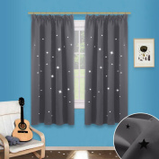 Hollow Star Blackout Windows Curtains - PONY DANCE (Wide 120cm by Drop 140cm , Grey, 2 Panels) Window Treatments Pencil Pleat Twinkle Star Curtains / Magical Fairy Drapes for Kids' Room