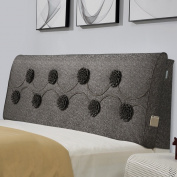 ZEMIN Cushion Pillow Cotton Headboard Backrest Sofa Bed Head Single Double Soft Washable Zipper Flower Desige Bedside Pocket PU, 3 Colours, 3 Sizes Available Wedge