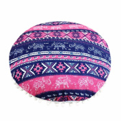 Bohemian Round Cushion , YOYOUG A Good Decor For Home Indian Round Pillowcase Indian Bohemian Cushions Mandala Floor Pillows Cover Soft (40*40cm,Multicolor)