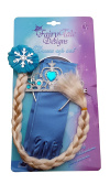 Queen Elsa Princess Anna Frozen Fever 3-Piece Set - Costume Accessory for Girls - Including Rhinestone Tiara Crown, Hair Braid and Gloves by Fairy Tale Designs