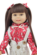 46cm Child Gifts Long Black Hair America Girl Dolls Lifelike Doll Baby Toys