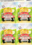 2 x sheets bears bride and groom, wedding theme decoupage sheet, toppers, ideal for arts and crafts, card, invitations, framing, dolls houses and lots more etc
