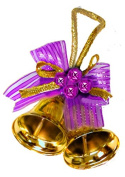 40 Gold bells and Purple bows wedding and Christmas card envelope seal stickers