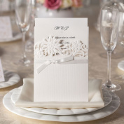 Laser Cut Wedding Invitations Flower Top Ribbon Matt White Invitations Inserts and Quality Envelopes Inc x 10