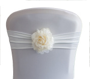 VINTAGE FLOWER CLIP AVAILABLE IN 8 COLOURS DECOR CHAIR COVER WEDDING PARTY - . Ivory Rose)