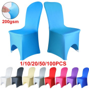TtS Chair Covers Spandex Lycra Universal Stretch Slipcovers Wedding Banquet Anniversary Party Arched Front