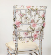 PINK BLOSSOM ORGANZA CHAIR CAP / TABLECLOTH OR TABLE RUNNER WEDDING CHAIRS EVENT (Short Chair Cap Square Top