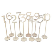 LUVCALS Wedding Table Wooden Number Sticks with Base Number Holders Table Card