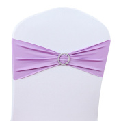 LUVCALS 10PCS Spandex Stretch Wedding Chair Cover Sashes Bow Band Party Banquet Decor