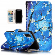 iPhone X Case, BONROY [Kickstand] Premium PU Leather Wallet Case Stand Function Colourful Printed Pattern Magnetic Flip Cover Bookstyle With Credit Card Slot Protective Case Cover for iPhone X - Blue Flower Painting