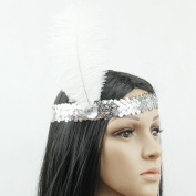 DAYNECETY 1 Pc Womens Flapper Feather Headband 1920s Headpiece Headwrap Headdress Costume Hair Band For Party Accessories