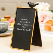 Mini Elegant Bird Blackboard Table Name Card - These Wooden Rustic Country Blackboard Nameplates Are Perfect For Weddings, Parties or Social Events And Can Be Reused Again and Again! A Wonderful Gift for Someone Who Loves To Host. H17 x W10 cm