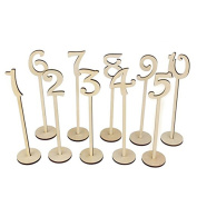 Tangbasi 10PCS 1-10 Wooden Wedding Table Numbers with Base for Wedding Party Decoration