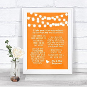 Orange Watercolour Lights Romantic Vows Personalised Wedding Sign Print
