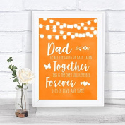 Orange Watercolour Lights Dad Walk Down The Aisle Personalised Wedding Sign Print