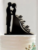 YULXS The bride and groom cake topper custom wedding cake decoration , black