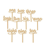 Tangbasi 10PCS 1-10 Wooden Wedding Table Numbers on Sticks for Wedding Party Decoration