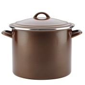 Ayesha Curry Home Collection Enamel on Steel Stockpot, 11.4l, Brown Sugar