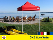 5x5 Apex Series 3 Commercial Pop Up Canopy with Classic Red 600D top and Aluminium Frame