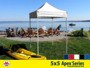 5x5 Apex Series 3 Commercial Pop Up Canopy with Snow White 600D top and Aluminium Frame