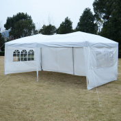 Apontus Outdoor Easy Pop Up Tent Cabana Canopy Gazebo with Walls 3m x 6.1m White