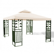 3m x 3m Replacement Gazebo Canopy Beige Top Cover Patio Outdoor Shade 2-Tier
