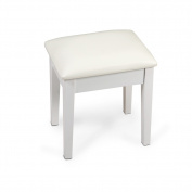 Organizedlife White Vanity Stool Dressing Stool with Cushion for Dressing Table