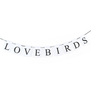 sourcingmap® LOVEBIRDS English Letter Pattern Card Rope Hanging Party Decor Photo Prop Banner
