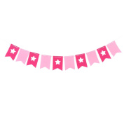 sourcingmap® Non-Woven Fabric DIY Wedding Party Decoration Photo Prop Banner Fuchsia Pink
