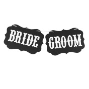 sourcingmap® BRIDE GROOM Letter Pattern Wedding Party DIY Decor Photo Prop Banner White Black