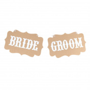 sourcingmap® BRIDE GROOM Letter Pattern Chair Back Wall Hanger Party Decor Photo Prop Banner
