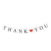 sourcingmap® THANK YOU Letter Heart Pattern Card Rope Hanging Party Decor Photo Prop Banner