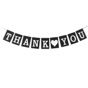 sourcingmap® THANK YOU Letter Print Card Rope Hanging DIY Party Photo Prop Banner Black White